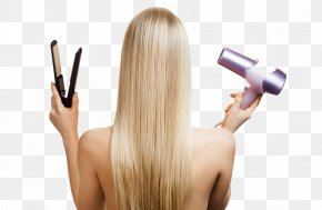Blonde Holding A Hair Dryer - The 50 Shades Of Blonde Hair Care Beauty Parlour Nail PNG