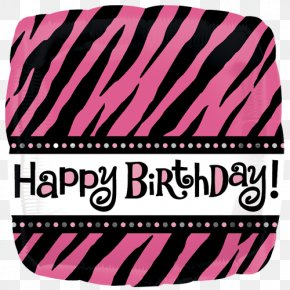 Happy Birthday Text Black And White - Birthday Candles Balloon Animal Print Party PNG