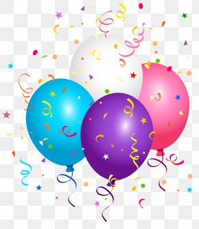 Balloons And Confetti Clipart Image - Confetti Balloon Paper Clip Art PNG
