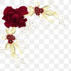 Red Rose Border - Flower Red Rose Floral Design Yellow PNG
