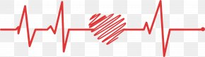 Red Love Doodle Line - Electrocardiography Red Euclidean Vector PNG