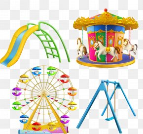 Vector Cartoon Amusement Park Ferris Wheel Carousel - Carousel Stock Photography Royalty-free Illustration PNG
