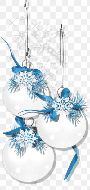 Cartoon White Bell Blue Snowflake Decoration - White Christmas Snowflake PNG