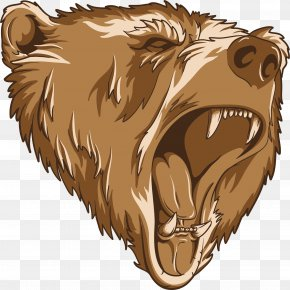 Bear - Grizzly Bear Growling Clip Art PNG