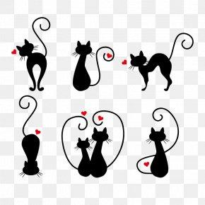 Vector Love Cats - Van Cat Kitten Stencil Drawing PNG
