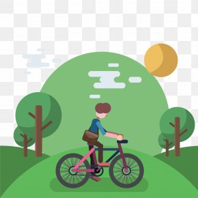 In The Forest Ride Bike Vector - Euclidean Vector Bicycle Illustration PNG