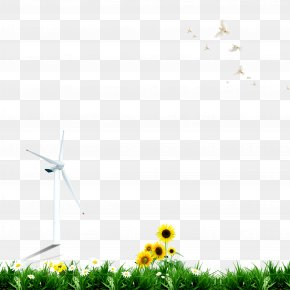 Lawn Windmill Sunflower Pigeon,green - Lawn Wallpaper PNG