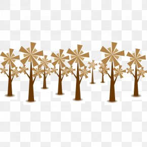 Flat Brown Star Tree Vector - Tree Euclidean Vector Download PNG