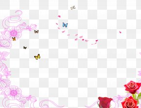 March 8 Poster Butterfly Flower Background - Poster Illustration PNG
