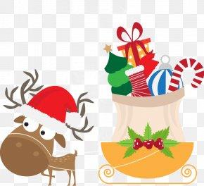 Hand-painted Gift Christmas Deer Pull Carts - Reindeer Wedding Invitation Christmas PNG