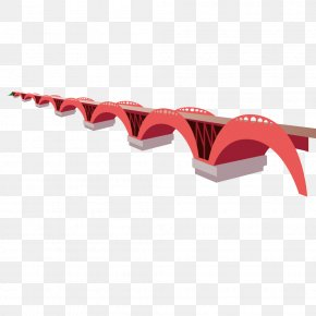 Red Cartoon Vector Bridge - Bridge Euclidean Vector PNG