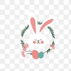 Eyes Closed Cute Rabbits Vote - Rabbit Wreath Clip Art PNG