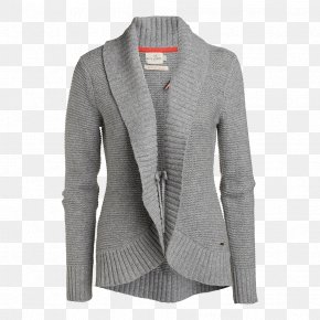 Cardigan Neck Wool Grey PNG