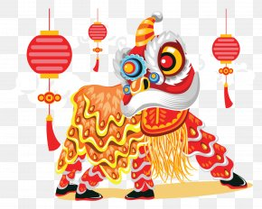 New Year Lion Dance Lantern Vector - Lion Dance Chinese New Year Illustration PNG