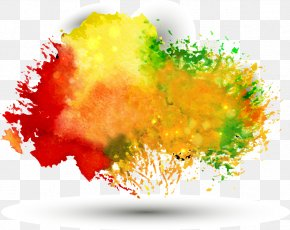 Free Pull Multicolor Watercolor Background - Ink Color PNG