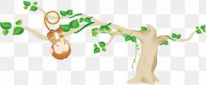 Monkey Hangs Tree - Ape Animal Monkey Clip Art PNG