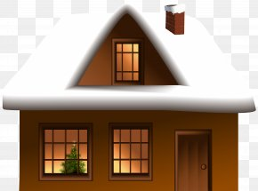 Winter House Clip Art Image - Gingerbread House Snow Clip Art PNG