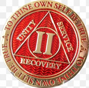 Medal - Alcoholics Anonymous Sobriety Coin Badge Medal Gold PNG
