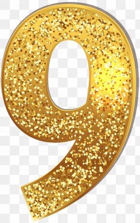 Number Nine Gold Shining Clip Art Image - Clip Art PNG