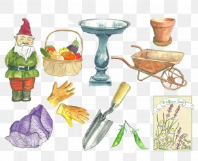 Maintenance Tools Shovel Garden Carts Baskets Child Gloves - Watercolor Painting Illustration PNG