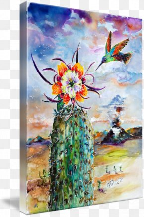 Hummingbird Flower - Watercolor Painting Modern Art Cactus Canvas Print PNG
