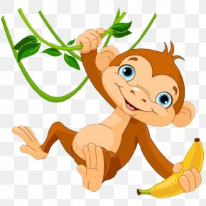 Cartoon Monkey Get Banana - Baby Monkeys The Evil Monkey Clip Art PNG