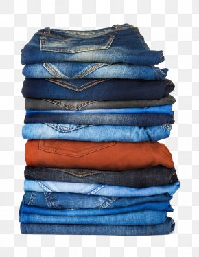 A Pile Of Folded Jeans - Jeans T-shirt Clothing Stock Photography PNG