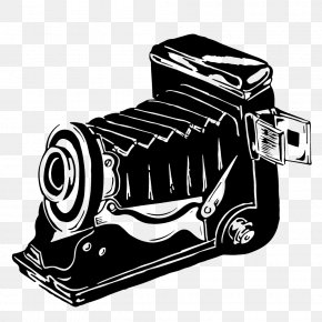 Black And White Hand-painted Vintage Camera Background Image - Camera Black And White PNG