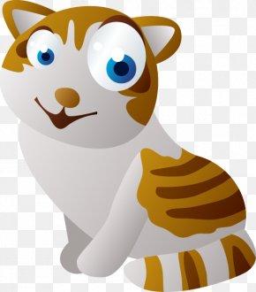 Big Eyes Yellow Striped Kitten - Cat Cartoon Sticker Animation PNG
