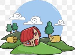 Housing Clouds Grass Vector - English Sentence Word Grammar Illustration PNG