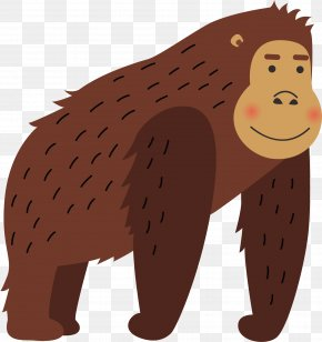 Brown Red Gorilla Vector - Gorilla Orangutan Illustration PNG