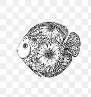 Black Fish Design - Drawing Fish Floral Design PNG