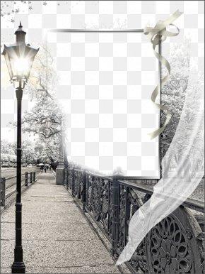 Roadside Freehand Cartoon Frame Background - Street Light Picture Frame PNG