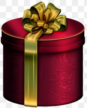 Red Round Present Box With Gold Bow Clipart - Christmas Gift Box Clip Art PNG