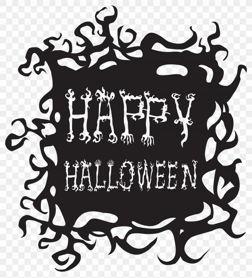 Halloween Clip Art, PNG, 7263x8000px, Halloween, Black And White, Brand, Calligraphy, Drawing Download Free