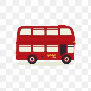 Red London Double-decker Bus Vector Material - London Double-decker Bus Illustration PNG