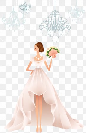 Waved Flowers Beautiful Bride Vector Material - Wedding Dress Wedding Dress Bride PNG