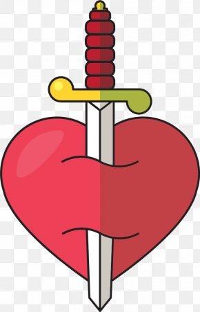 Vector Hand-drawn Sword Piercing The Heart - Sword Euclidean Vector Clip Art PNG