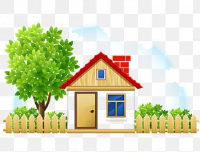 House Fence - House Cartoon Drawing Cottage PNG