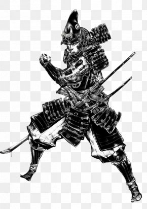 Samurai Black And White - Black And White Samurai Ninja Illustration PNG