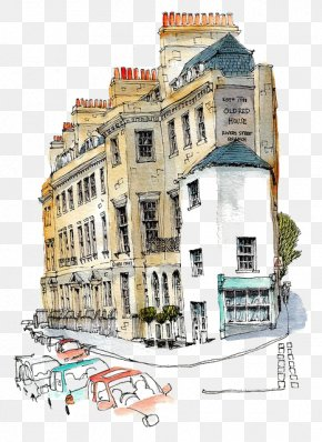 Retro Building - Architecture Watercolor Painting Drawing Urban Sketchers Sketch PNG