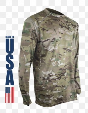 T-shirt - Long-sleeved T-shirt Military Camouflage MultiCam PNG
