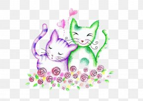 Kitten - Cat Kitten Drawing Love Wallpaper PNG