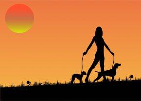 Dog Sunset Cliparts - Dog Walking Pet Sitting Woman PNG