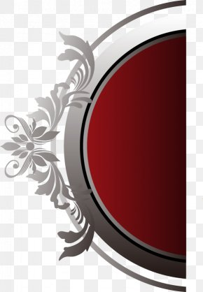 Hand-painted Black And Red Circular Pattern Silver Edge - Red Black Computer File PNG
