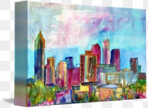 Watercolor Skyline - Skyline Watercolor Painting Modern Art Atlanta Still Life PNG
