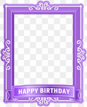 Happy Birthday Frame Purple Clip Art - Text Picture Frame Purple Pattern PNG