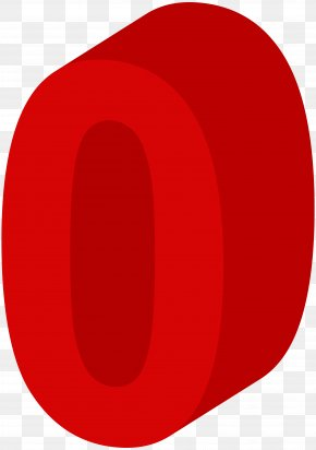 Number Zero Red Clip Art Image - Red Circle Font Design PNG
