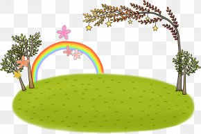 Cartoon Meadow With Rainbow - Grandparent Father Mother PNG