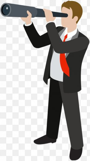 Business Man - Man With Telescope Small Telescope Clip Art PNG